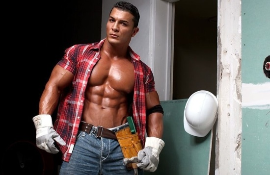 Omar Fabrouk shows off his massive chest in construction worker clothes