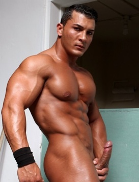 Omar Fabrouk's huge chest and hard cock