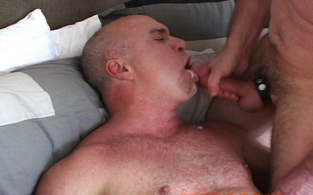 Steve parker is fed a hot load of cum from Roberts cock