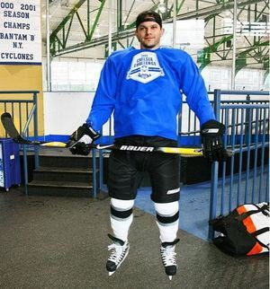 Levi Johnston in a hockey uniform at Chelsea Piers