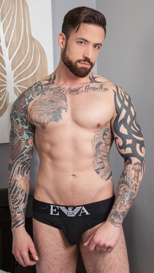 Hot tattooed Jordan Levine in Emporio Armani underwear