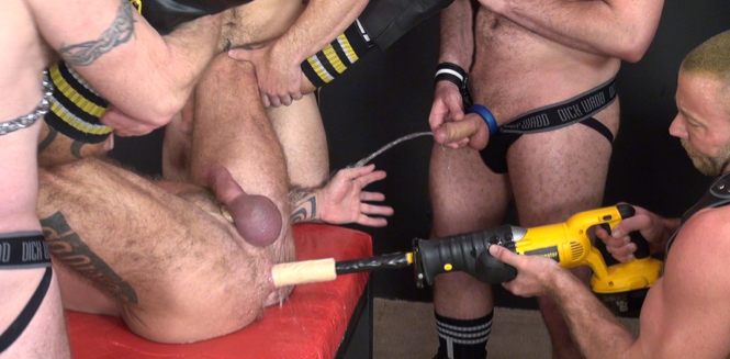 Hairy ass getting drilled with a dildo and pissed on during a gangbang