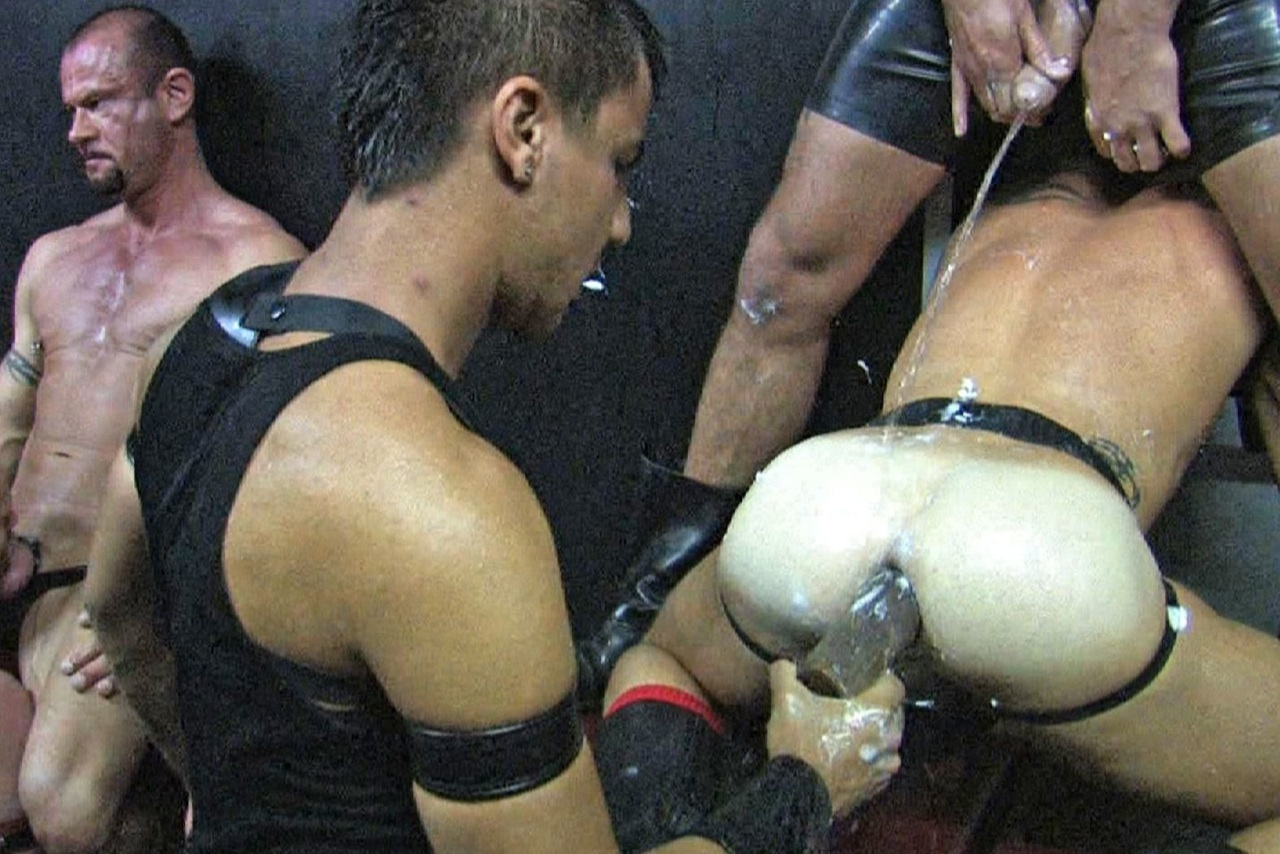 Kike forces a lube and piss covered toy into a hot ass