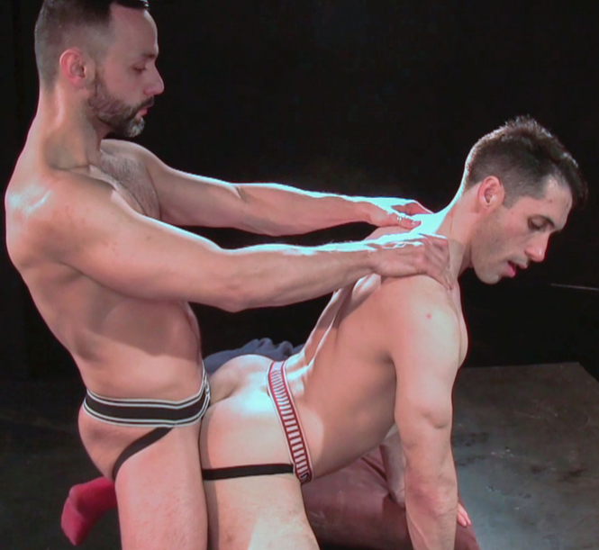 Kyle Ferris on all fours getting fucked doggy style by Rob Skelton