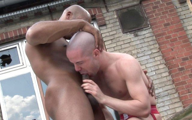Hot young skinhead DJ Ryder forced to suck thick black cock