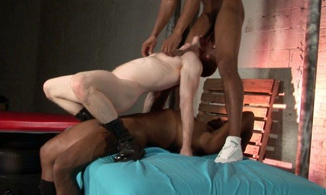 Tim Rusty rides raw cock while sucking another thick dick
