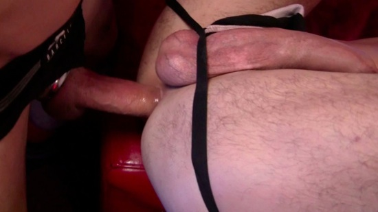 tommy's dick head in oliver's open hole.