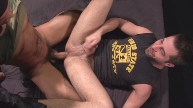 Brandon Hawk on his back getting fucked bareback by Antonio Biaggi