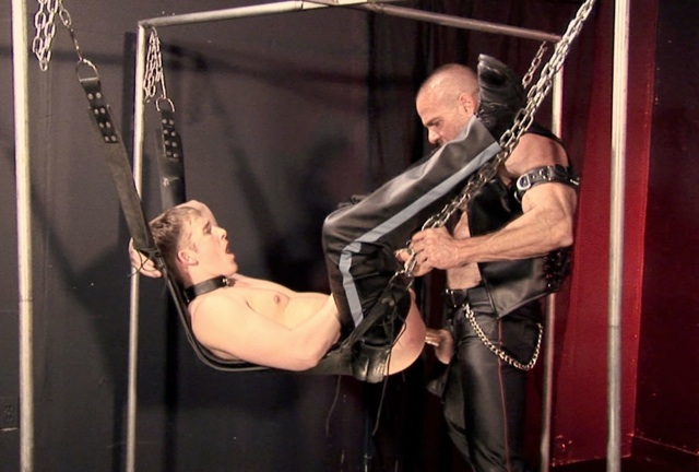 Mason Wyler getting his hole fucked raw in a sling