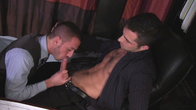Dylan Hyde on his knees sucking cock at work