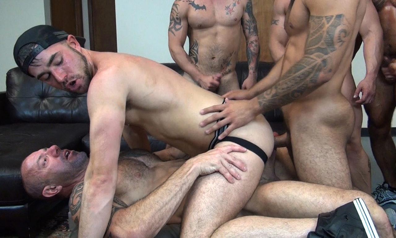 Gay male twink gang bang