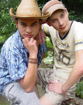 Two young guys outside