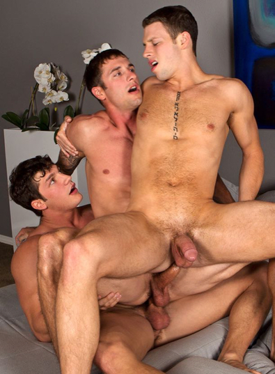Three hot jock buddies having bareback sex