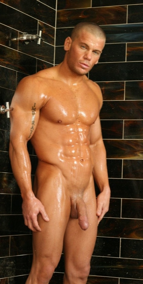 Damon Danilo with soft cock wet in the shower