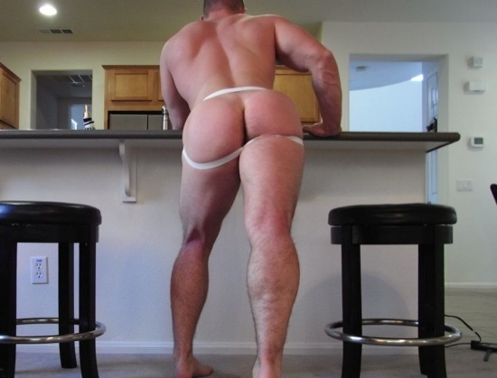 Jeff shows off his muscled legs, back, and ass