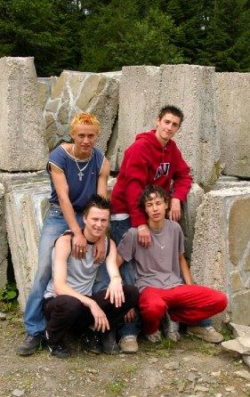 Four young skater dudes (Marek Jurdovic, Danny Starr, Mischa Black, and Dennis Canon) at the quarry