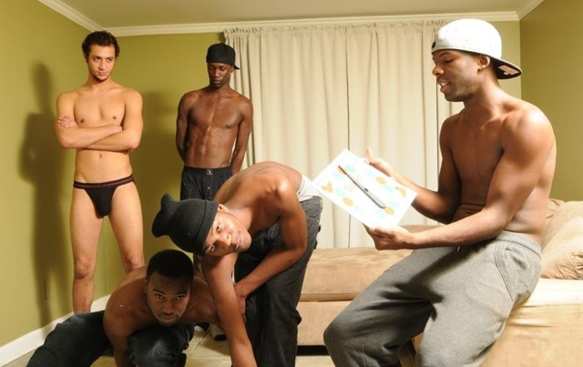 Shirtless young thugs play Twister
