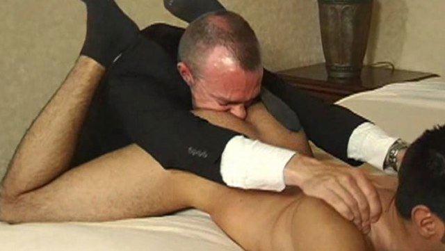 Dan Fisk burys his face in young guys ass