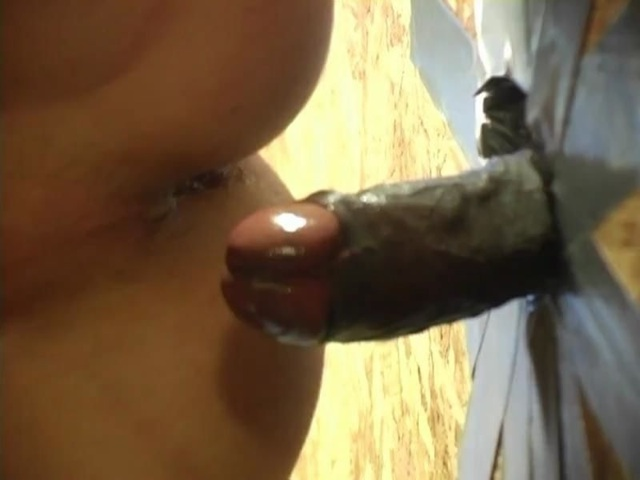 Raw wet cock dripping cum though a glory hole