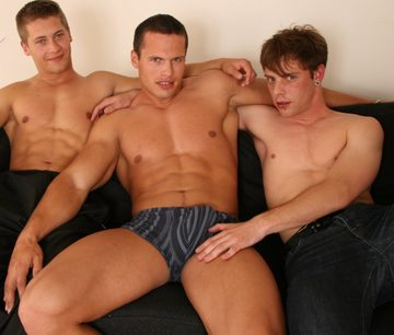 Beefy jocks Joey & Giacomo hang out with Thomas Dyk shirtless