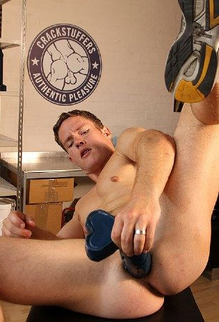 Ashley fucks his young hole with a big toy