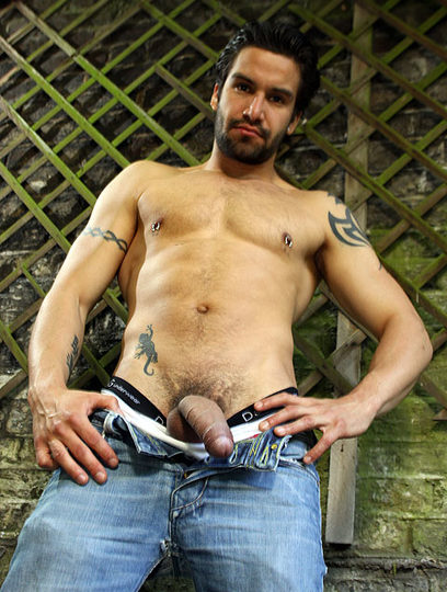 Inked Toby Park shows off his massive uncut cock