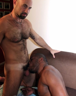 Hairy Collin O'Neal getting head from ROderigo Beckmann