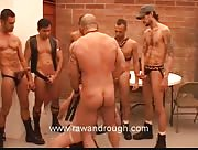 Slave Boy Surrounded By Huge Dicks