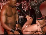 Pig Muscle Bottom Takes Long Raw Black Cock